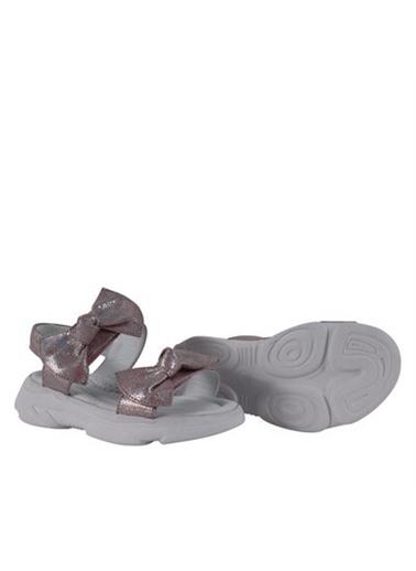 Kids A More Belle Kurdele Detaylı Çift Cırtlı Deri Kız Çocuk Sandalet   Pudra